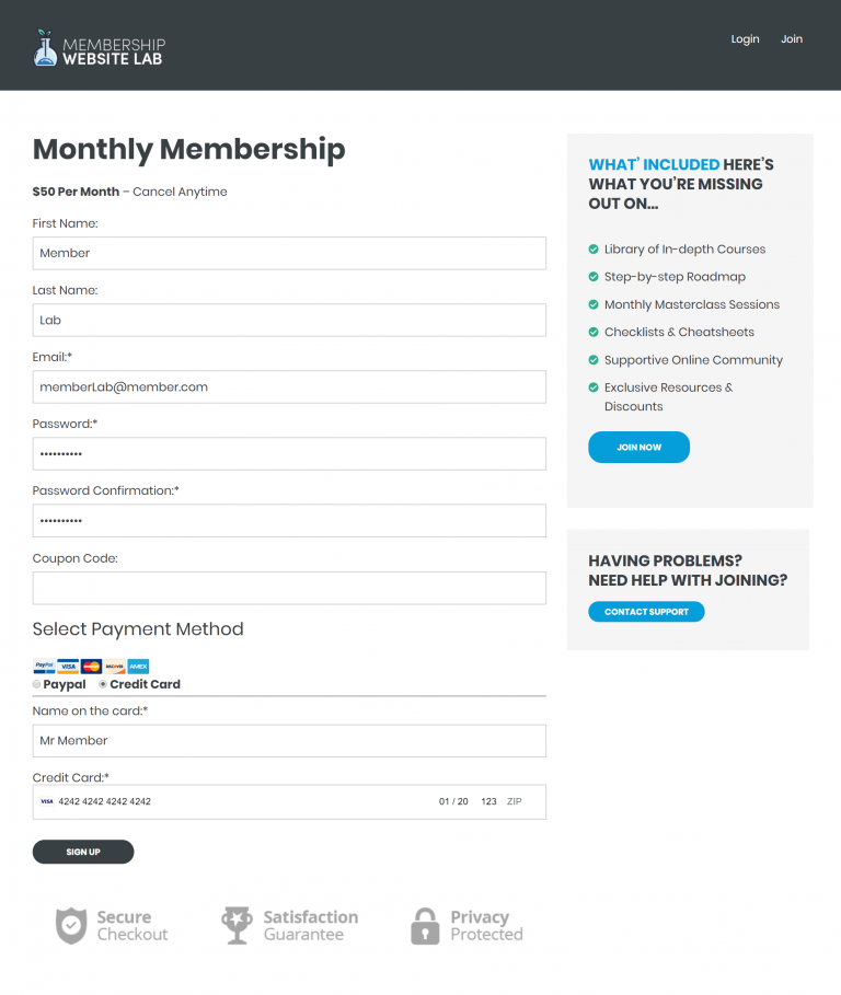 Membership Site Sign Up Page