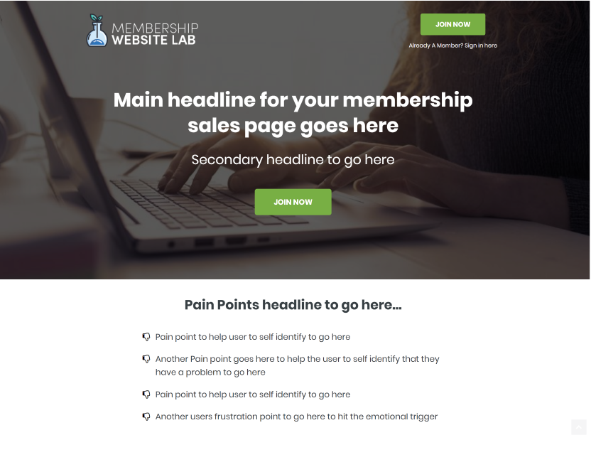 Membership Website Sales Page Templates
