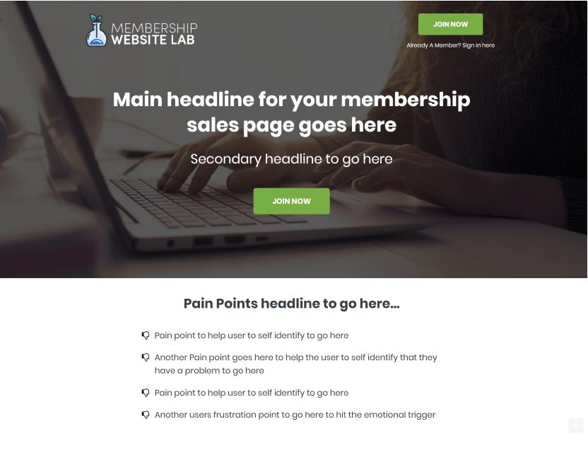 Membership Website Sales Page Templates
