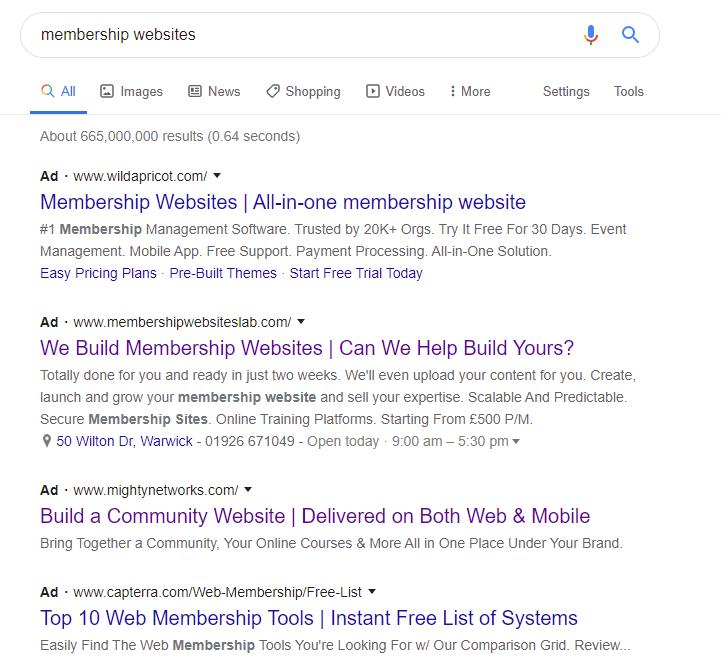 Google Ads listings