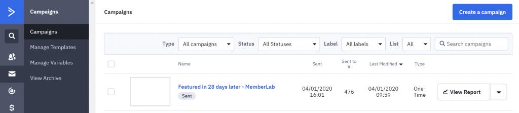 Screenshot of ActiveCampaign