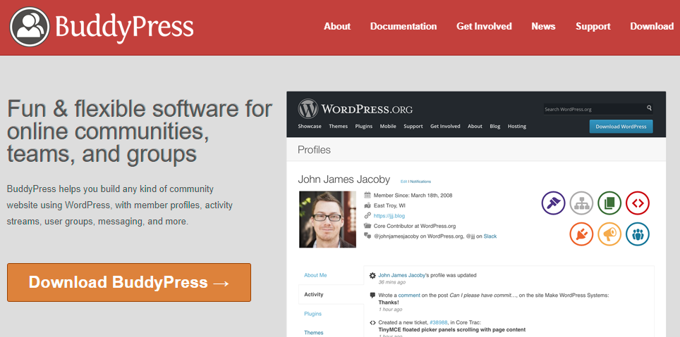Buddypress page screenshot